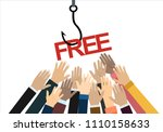 fish hook with a  text  free.... | Shutterstock .eps vector #1110158633