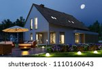 detached house with light in...   Shutterstock . vector #1110160643