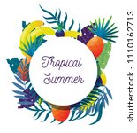 tropical fruit and palm leaves  ... | Shutterstock .eps vector #1110162713