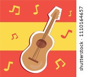 cartoon cute spanish music... | Shutterstock .eps vector #1110164657