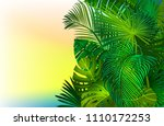 tropical background with banana ... | Shutterstock .eps vector #1110172253
