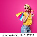 young redhead girl in yellow t... | Shutterstock . vector #1110177257