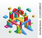 construction out of toy unit... | Shutterstock .eps vector #1110218813