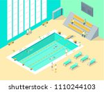 indoors swimming pool interior... | Shutterstock .eps vector #1110244103