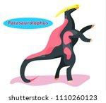 cute dinosaur parasaurolophus... | Shutterstock .eps vector #1110260123