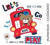happy cute teddy bear cartoon...   Shutterstock .eps vector #1110262643