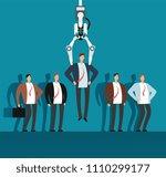 robot recruiter with industrial ...   Shutterstock .eps vector #1110299177