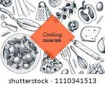 italian cuisine hand drawn... | Shutterstock .eps vector #1110341513