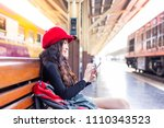 attractive beautiful woman is... | Shutterstock . vector #1110343523