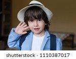 beautiful little brunet hair... | Shutterstock . vector #1110387017