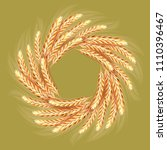 wreath made of wheat spikelets...   Shutterstock .eps vector #1110396467