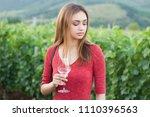 portrait of a gorgeous brunette ... | Shutterstock . vector #1110396563