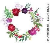 wreath with flowers and leaves... | Shutterstock .eps vector #1110458333