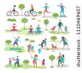 various outdoor activities in... | Shutterstock .eps vector #1110469607
