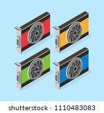 video card set of mining... | Shutterstock .eps vector #1110483083