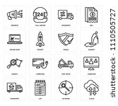set of 16 icons such as cloud ... | Shutterstock .eps vector #1110505727