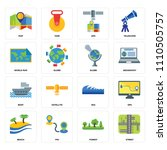set of 16 icons such as street  ...