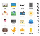 set of 16 icons such as oxygen...