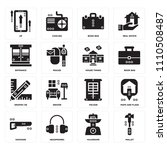 set of 16 icons such as mallet  ...