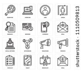 set of 16 icons such as email ...