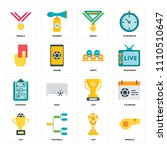 set of 16 icons such as whistle ...