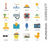 set of 16 icons such as duck ...
