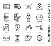 set of 16 icons such as percent ...