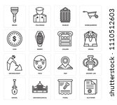 set of 16 icons such as old...