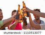 cheers  group of happy young... | Shutterstock . vector #1110513077