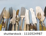 row of assorted tarnished... | Shutterstock . vector #1110524987