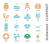 set of 16 icons such as soft...