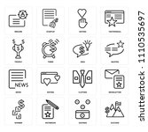 set of 16 icons such as success ...