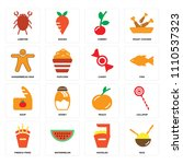 set of 16 icons such as rice ...