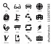 set of 16 icons such as... | Shutterstock .eps vector #1110537383