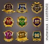 set of gold anniversary badges... | Shutterstock .eps vector #1110555653