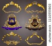 set of gold vip monograms for... | Shutterstock .eps vector #1110555803