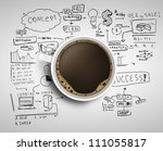 cup of coffee on background of... | Shutterstock . vector #111055817
