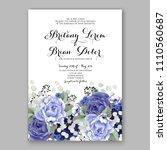 blue peony wedding invitation...   Shutterstock .eps vector #1110560687