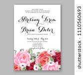 pink peony wedding invitation...   Shutterstock .eps vector #1110560693