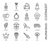 set of 16 icons such as rose ...