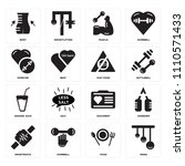 set of 16 icons such as rings ...