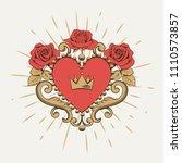 beautiful ornamental red heart... | Shutterstock .eps vector #1110573857
