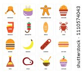 set of 16 icons such as cupcake ... | Shutterstock .eps vector #1110574043