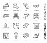 set of 16 icons such as trolley ...