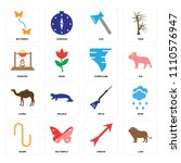 set of 16 icons such as lion ...