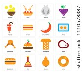 set of 16 icons such as donut ...