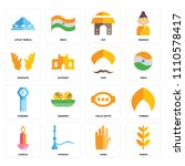 set of 16 icons such as wheat ...