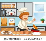 chef cooking in a kitchen...   Shutterstock .eps vector #1110624617