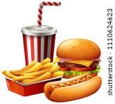 meal of fast food illustration   Shutterstock .eps vector #1110624623