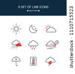 red point weather line icon set | Shutterstock .eps vector #1110715523